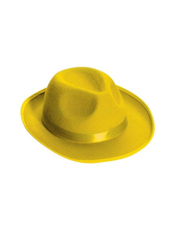 Bright Yellow Roaring 20's Costume Fedora Hat Accessory Main Image