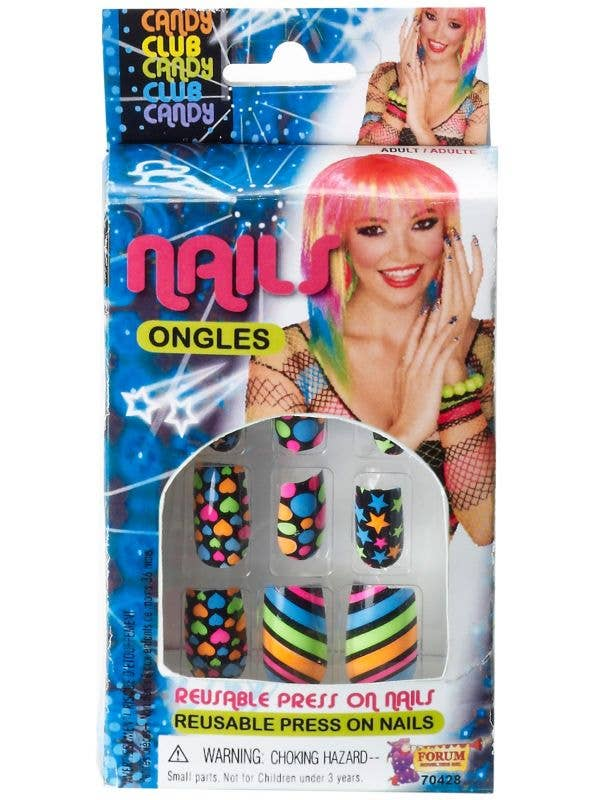 Neon Stars Stripes Hearts And 80's Fashion Spots Stick On Nails Costume Accessory