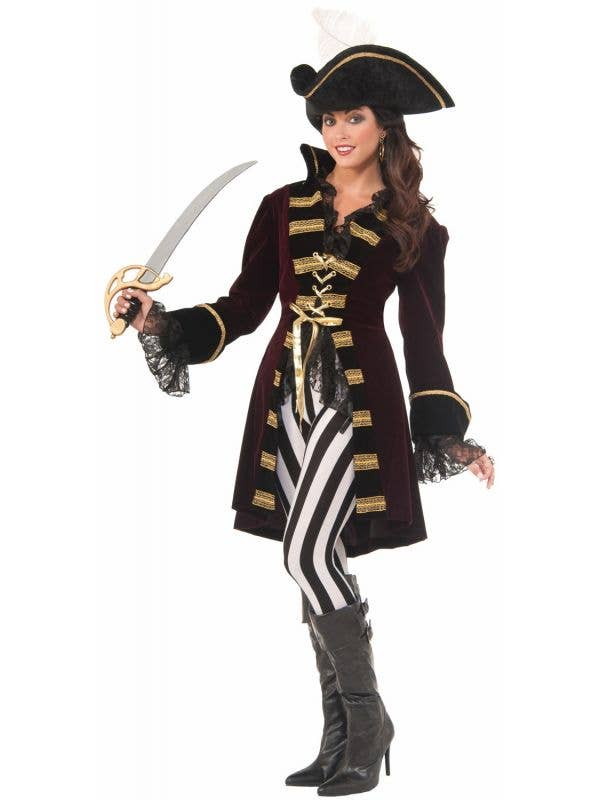 Captain Morgana Deluxe Women's Pirate Long Coat Costume Main Image