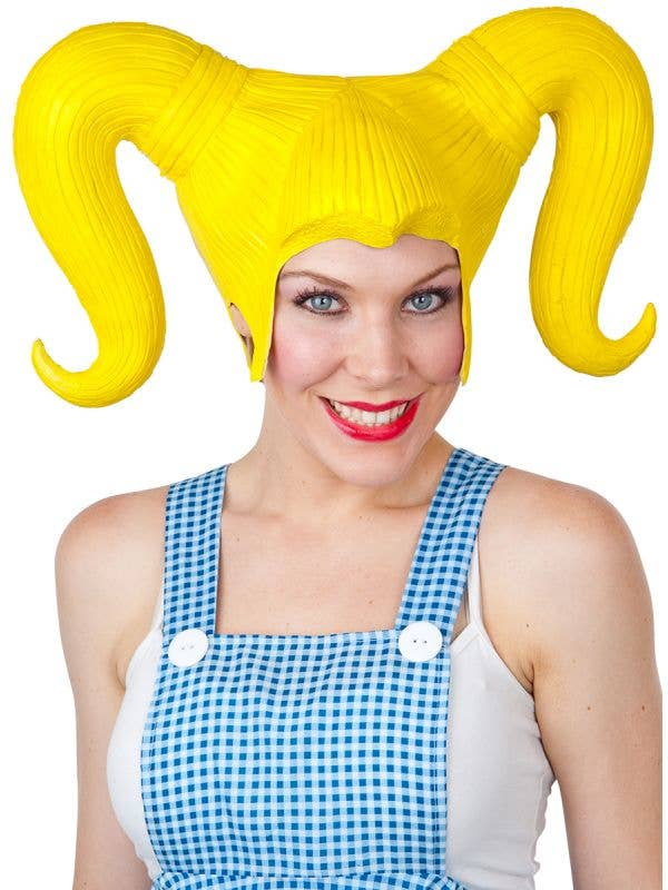 Yellow Latex Costume Wig with Pigtails