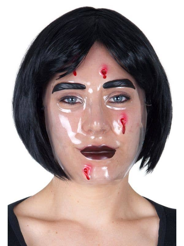 Creepy Transparent Horror Mask with Wounds