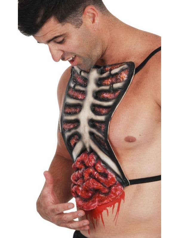 Latex Bloody Zombie Ribs Chest Piece Costume Accessory
