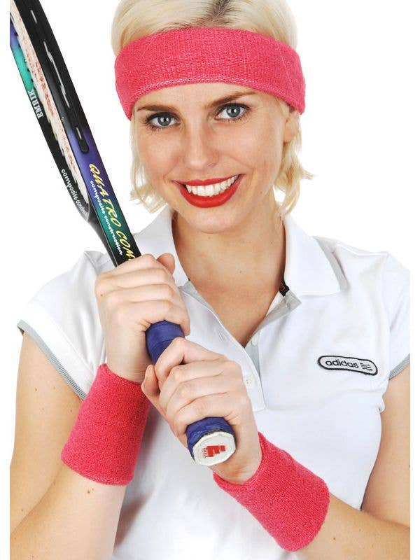 Hot Pink Terry Towelling Tennis Player Costume Headband and Wristbands