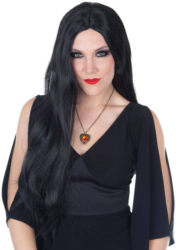 Morticia Addams Style Long Straight Black Costume Wig for Women