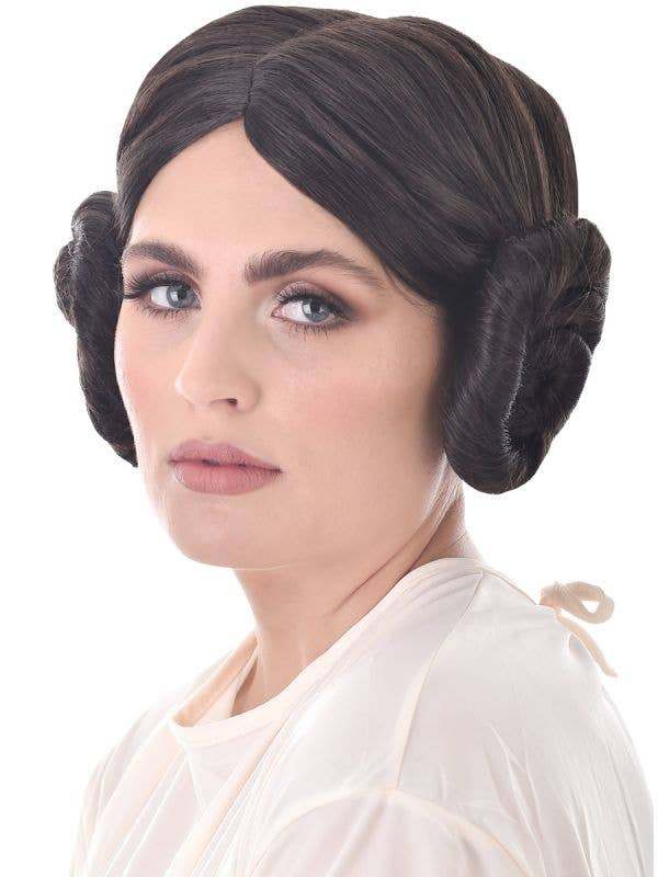 Brown Space Buns Women's Princess Leia Inspired Costume Wig