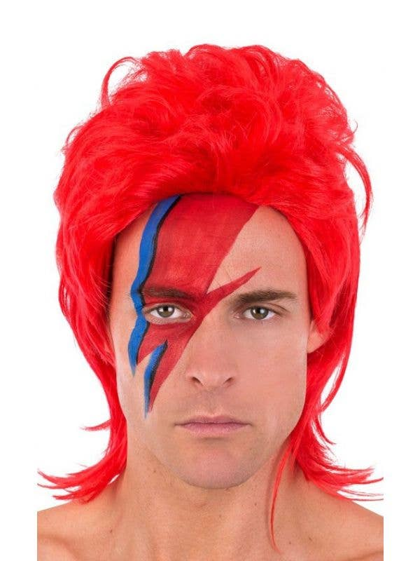 Bright Red David Bowie Ziggy Stardust Costume Wig for Men