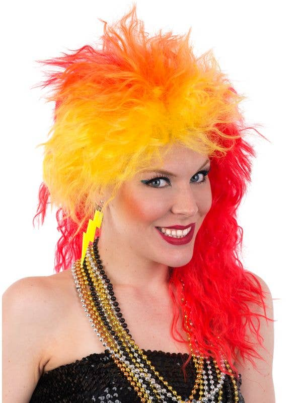 Red and Yellow Crimped 80's Cyndi Lauper Style Costume Wig for Women