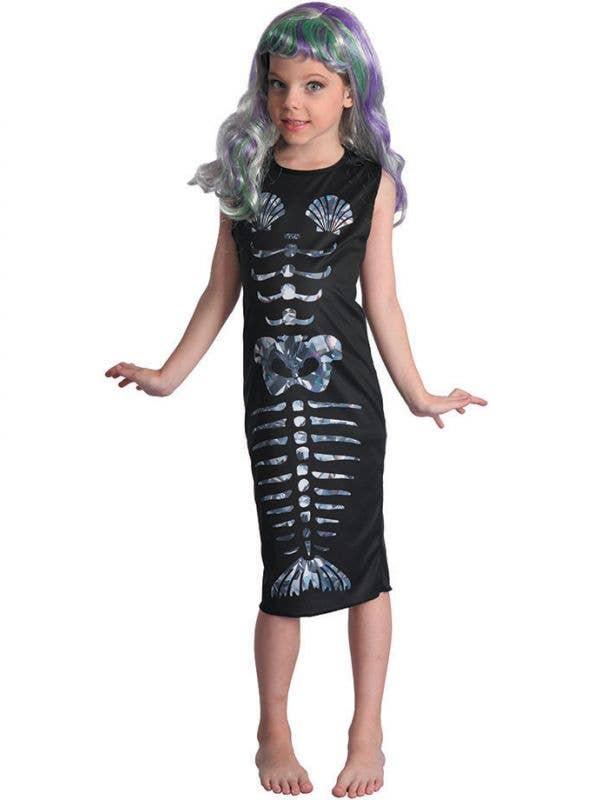 Girls Skeleton Mermaid Halloween Fancy Dress Costume