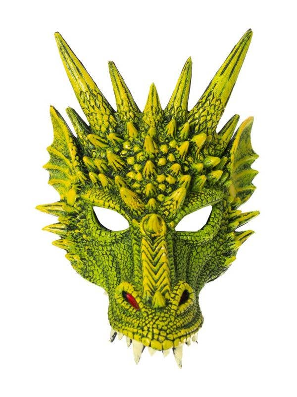 Kid's Green Rubber Foam Dragon Half Face Mask With Spikes Halloween Costume Accessory Main Image