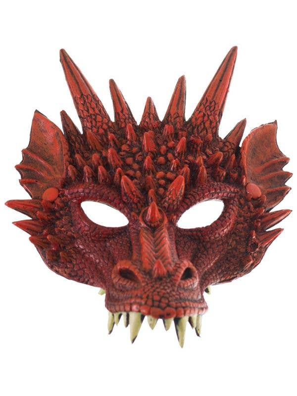 Kid's Red Rubber Foam Dragon Half Face Mask With Spikes Halloween Costume Accessory Main Image