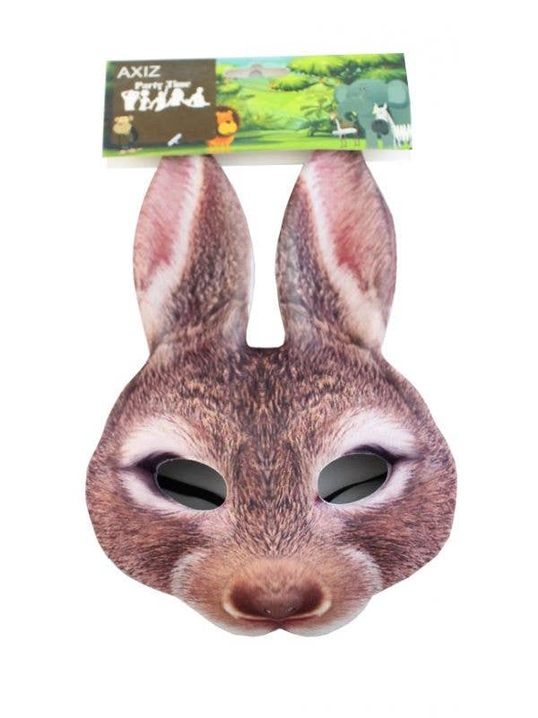 Brown Rabbit Kids Bunny Face Mask Costume Accessory Main Image