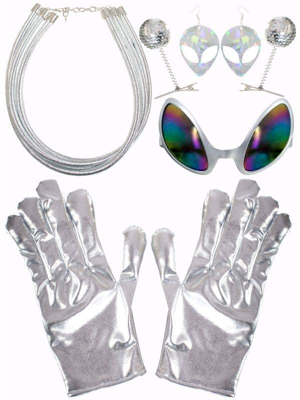 Silver Space Alien Kit with Gloves, Glasses and Jewellery