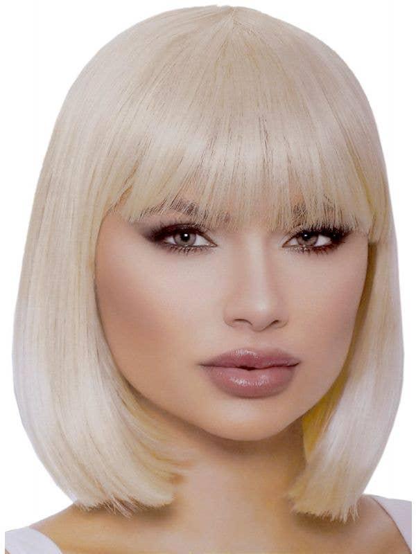 Deluxe Women's Short Blonde Bob Wig with Fringe