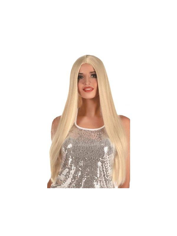 Women's Extra Long Straight Blonde Costume Wig with Centre Part