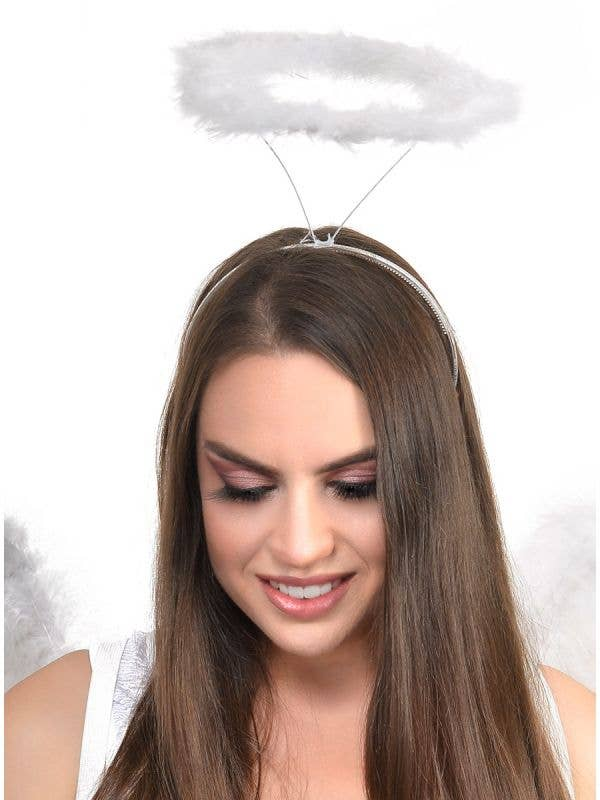 White Marabou Feather Angel Halo
