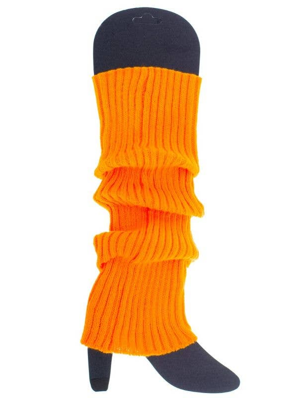 Women's Bright Neon Orange Leg Warmer 80s Costume Accessory Main Image
