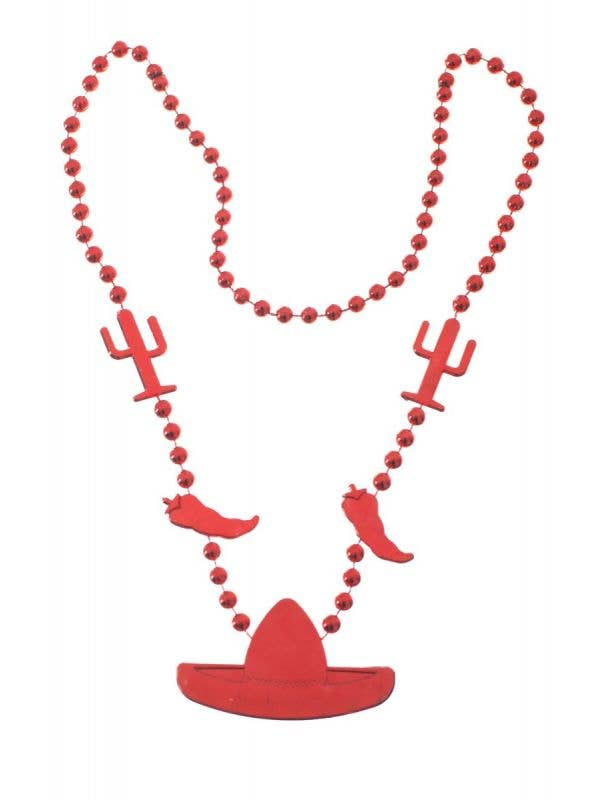 Beaded Red Sombrero and Chilli Mexican Necklace Costume Accessory Main Image