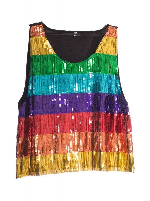 Men's Sequined Rainbow Mardi Gras Tank Top