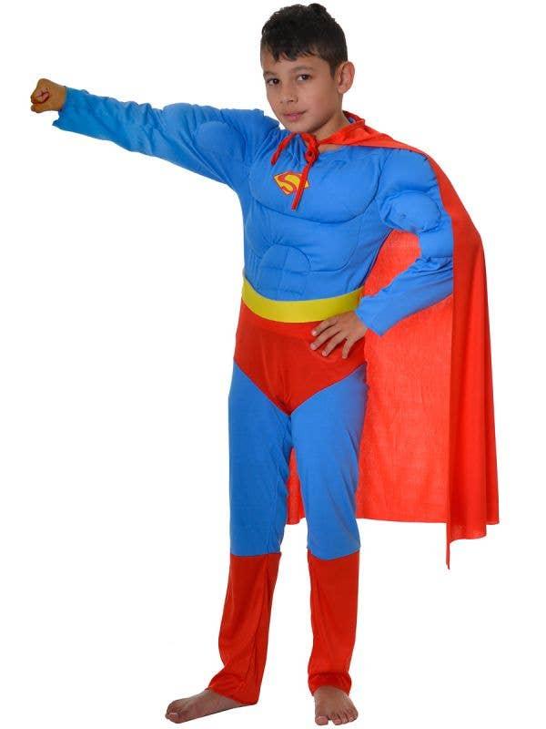 Boys Muscle Superman Fancy Dress Costume - Front Image