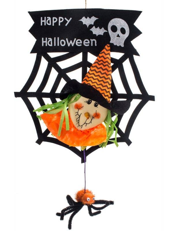 Happy Halloween Child Friendly Sign with Hanging Spider and Orange Witch