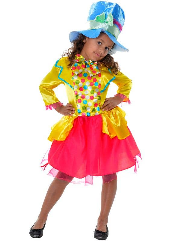Girls Satin and tulle Yellow and Pink Mad Hatter Alice in Wonderland Themed Dress Up Costume - Front View