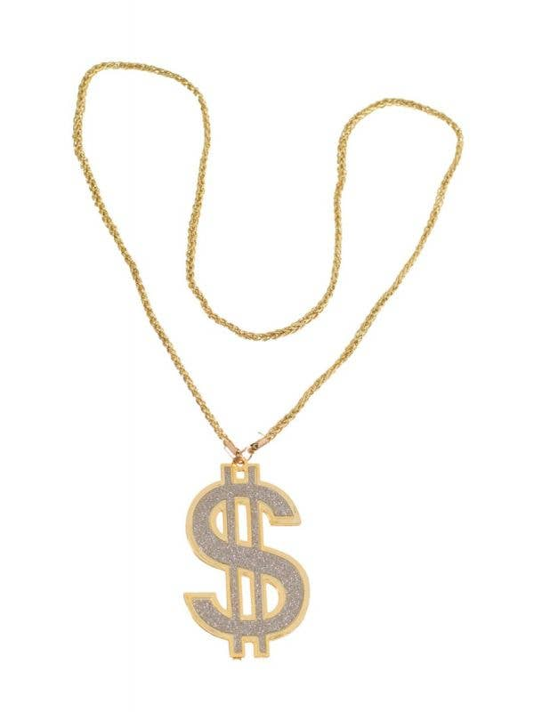 Fake Gold Dollar Sign Bling Gangster Pimp Costume Necklace Costume Jewellery Main Image