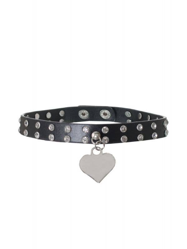 Black Faux Leather Kitty Collar Costume Accessory Main Image