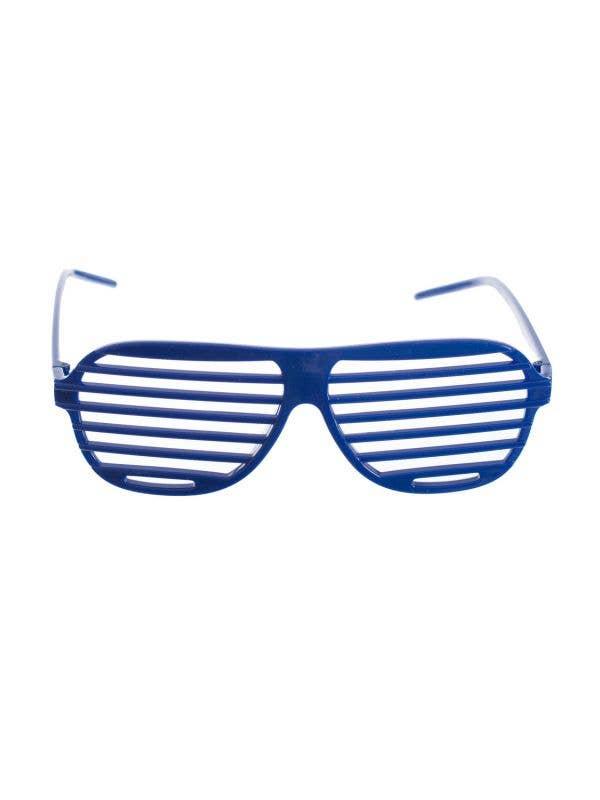 Navy Blue Novelty 80s Fashion Shutter Shades Main Image