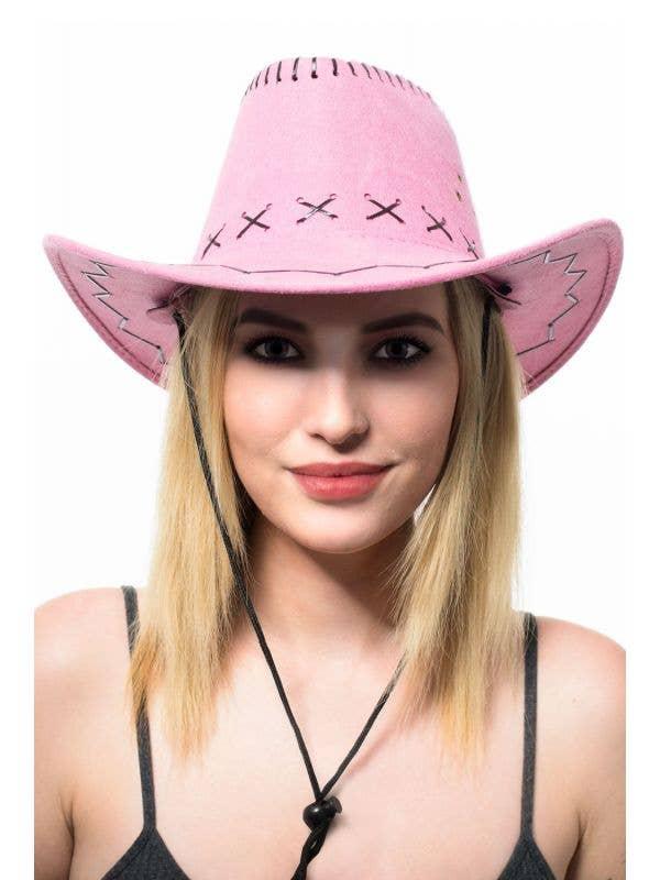 Women's Pink Faux Suede Cowboy Costume Hat Accessory Main Image