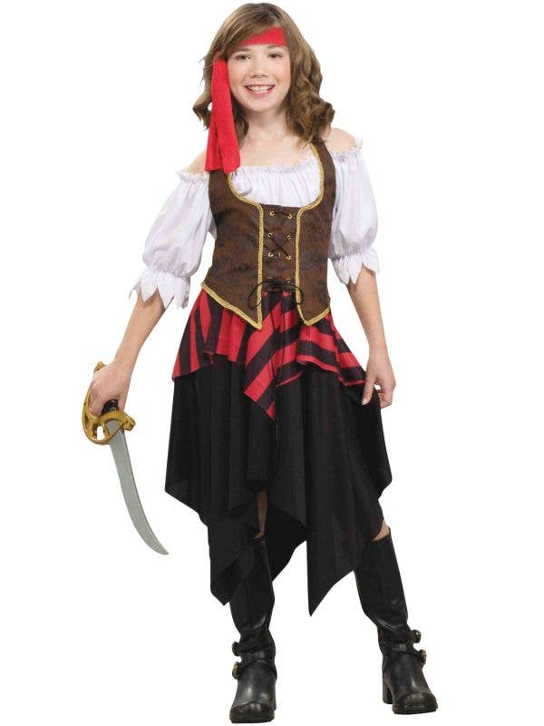 Buccaneer Sweetie Pirate Red And Black Striped Girls Halloween Book Week Costume