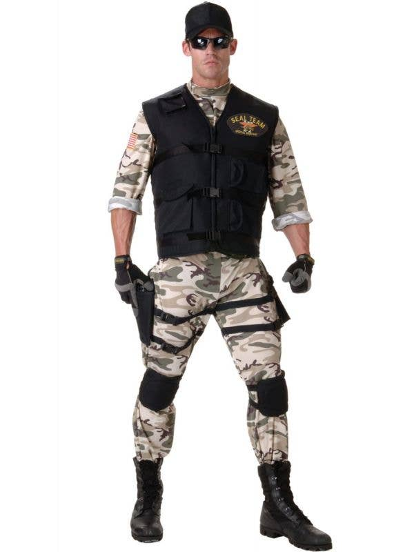 Men's Navy Seal Team Special Forces Camouflage Fancy Dress Costume With Vest And Holters Main Image