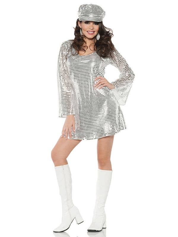 Silver Sequinned Retro 70's Disco Diva Shimmer Women's Fancy Dress Costume Main Image