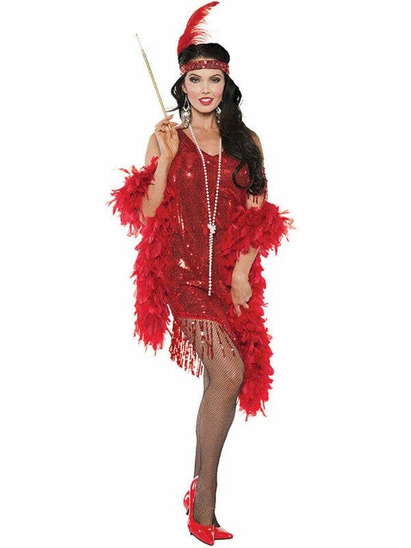 Great Gatsby Costumes Female Red Sequinned Flapper Dress - Main Image