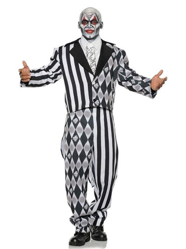 Black and White Diamond Jester Men's Plus Size Halloween Costume Main Image