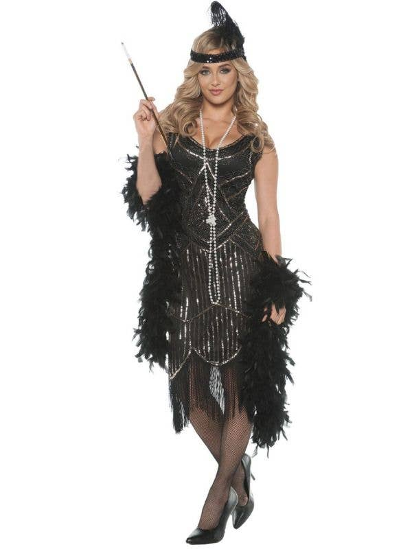 Black and Silver Sequinned 1920 Great Gatsby Flapper Costumes for Women - Main Image