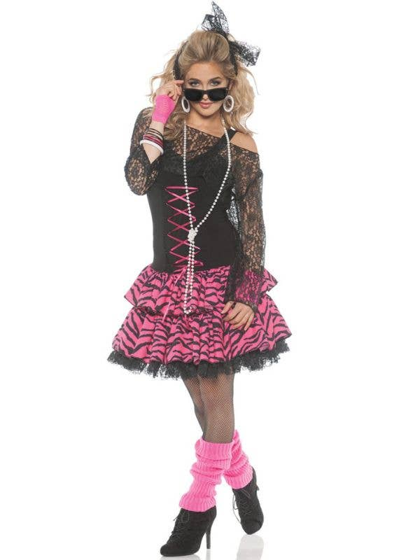 Women's Black and Pink Pop Goddess Madonna Inspired 1980's Costume Front Image