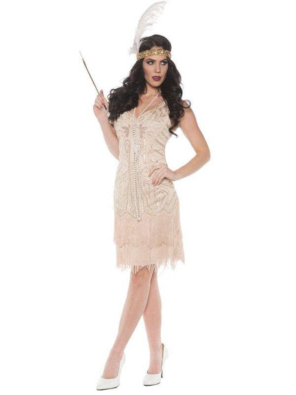 Women's Soft Cream Champagne Beaded 20's Flapper Fancy Dress Costume Main Image