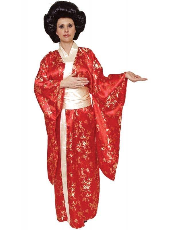 Women's Red Geisha Kimono Japanese Fancy Dress Costume