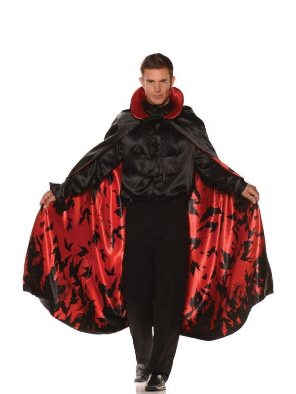 Men's Red And Black Satin Reversible Halloween Cape With Bats Main Image
