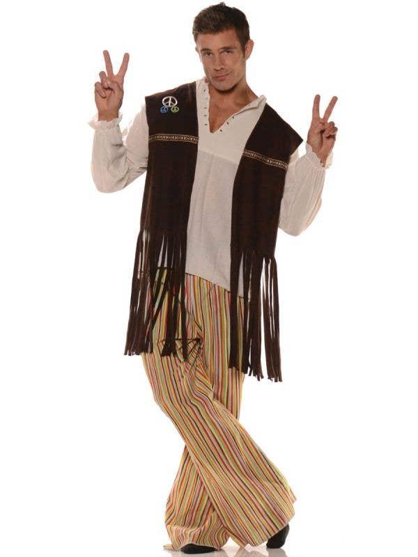 Mens Brown Long Fringed 70's Hippie Costume Vest Retro - Main Image
