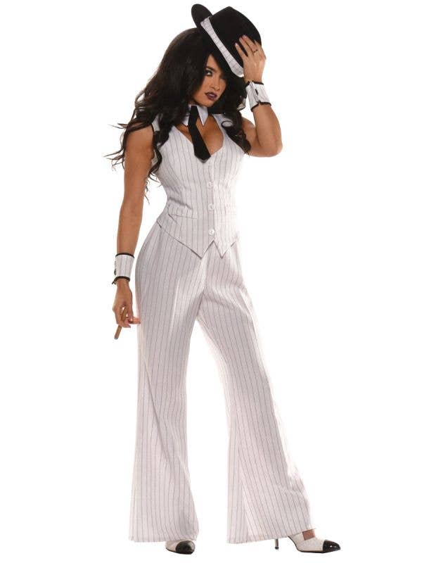 Mob Boss Women's White Pinstriped Suit Dress Up Costume 1920's - Main Imag
