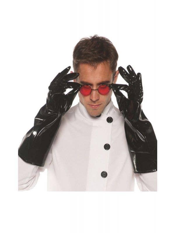 Long Black Vinyl Villain Costume Gloves