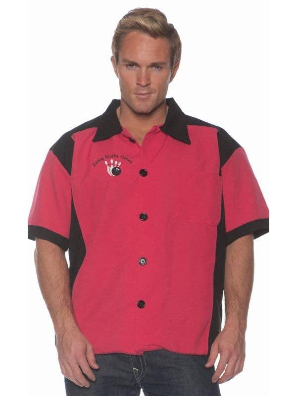 Men's Fushsia Lucky Strike Lanes Nifty 1950's Bowling Costume Shirt Main Image