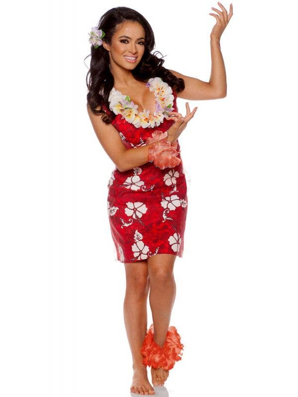 Women's Red Island Beauty Fancy Dress Hawaiian Costume - Main Image