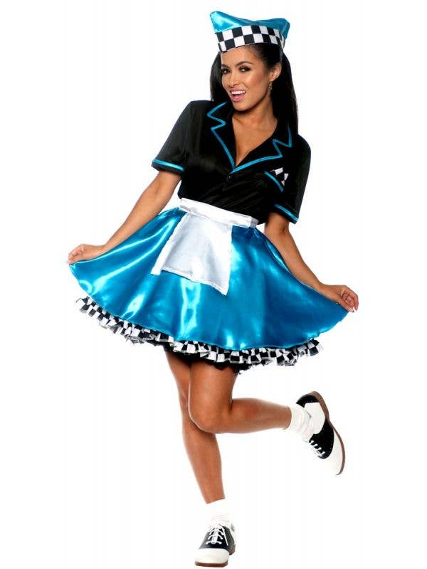 Women's Blue 50s Diner Car Hop Girl Fancy Dress Costume -  Main Image