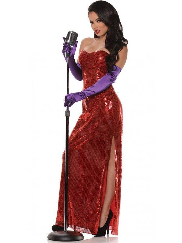 Womens Sexy Jessica Rabbit Red Fancy Dress Costume Dress - Main Image