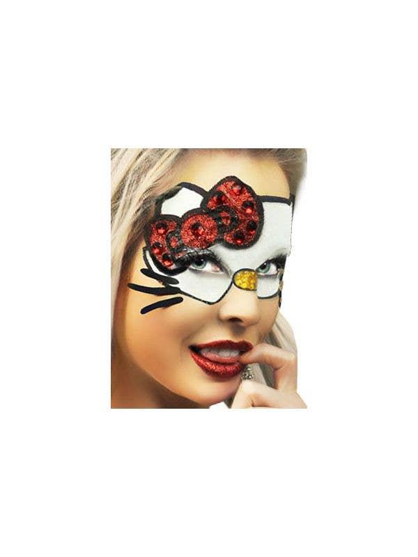 Women's Hello Kitty Glitter Stick On Costume Makeup Main Image