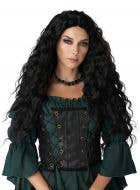 Extra Long Curly Black Renaissance Maiden Costume Wig for Women - Main Image