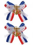 Sailor Girl Hair Clips with Gold Anchors - 2 Pack