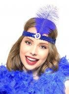 Royal Blue 1920's Feather Flapper Headband